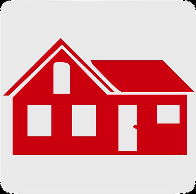 červený kreslený domek